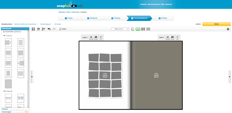 Snapfisch Fotobuch Online Oberfläche