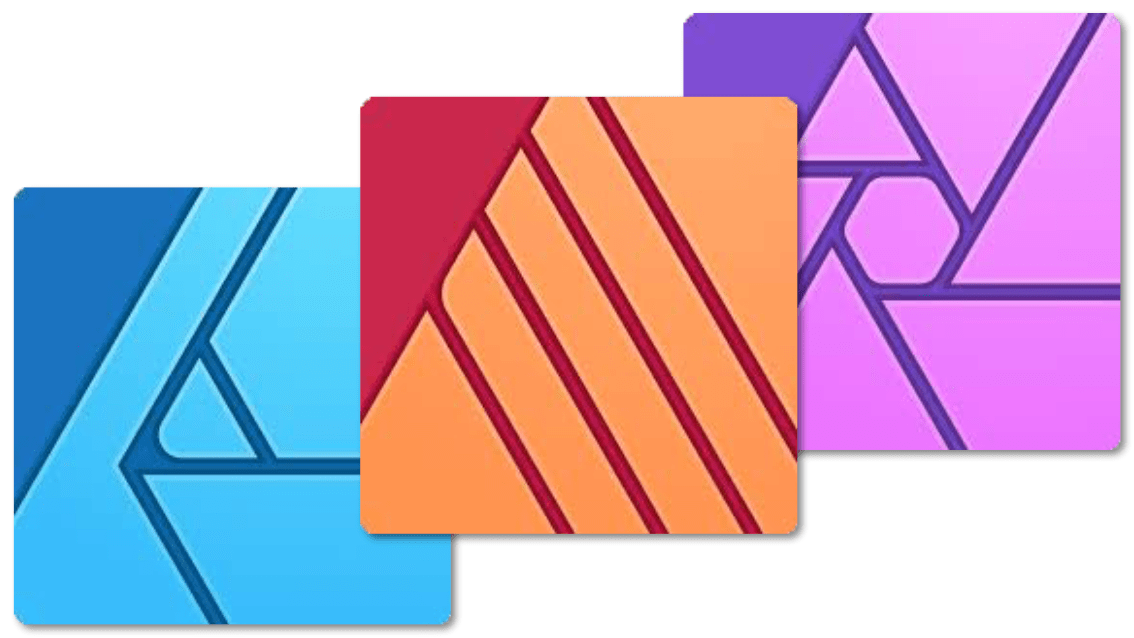 Die Logos der Affinity Programme - Affinity Publisher, Affinity Designer, Affinity Photo (v. l. n. r.)