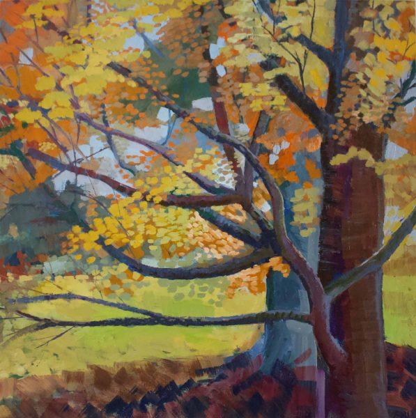 Autumn at the Arboretum, oil on canvas, Shirley Hudson