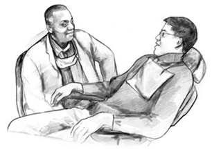 Drawing of a male patient seated in a dental chair and talking with his male dentist.