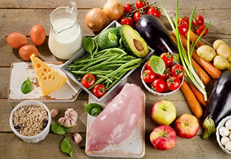 A variety of healthy, nutritious foods