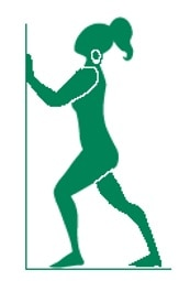 Silhouette illustration of woman stretching legs by pushing on a wall.