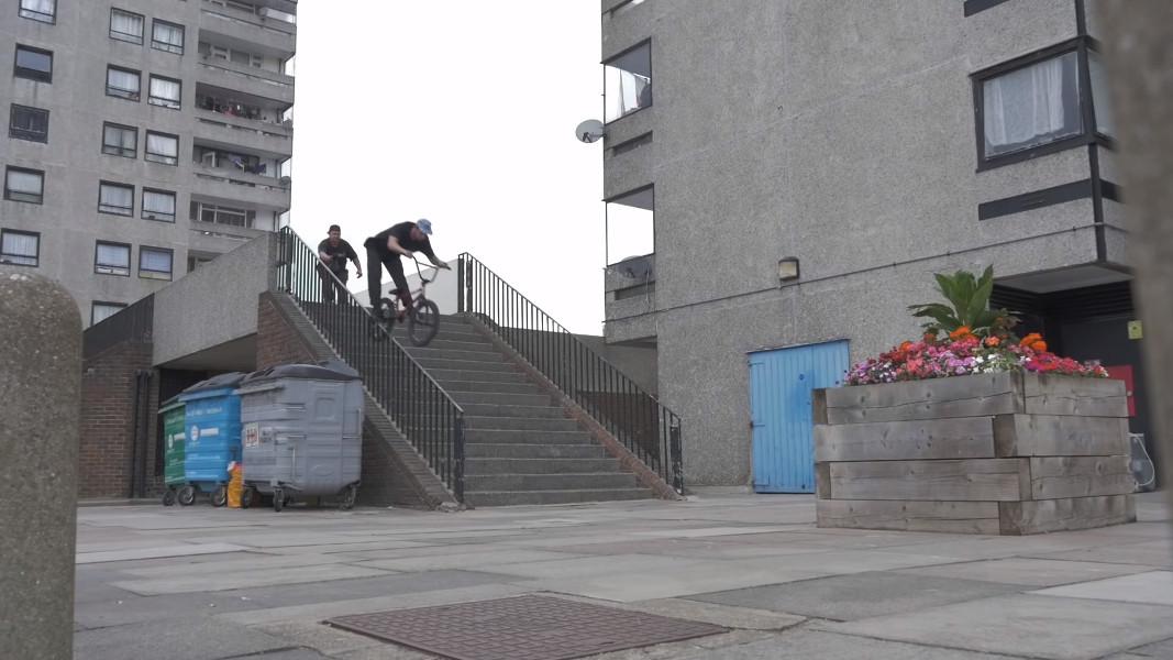 Ollie Shields - Icepick grind down the 16 set handrail BMX