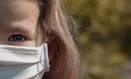 girl with covid-19 face mask