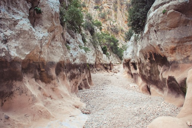 Gorg Capellà pralaida. Tamsi juosta kiek daugiau nei 2 metrų aukštyje rodo buvusį vandens lygį
