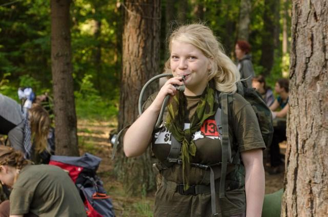 Viena jauniausių žygio dalyvių
