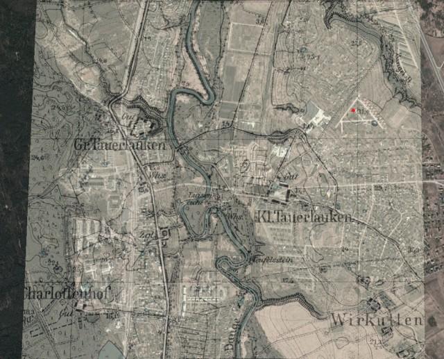 Dange baterijos vieta (1939 m. žemėlapis + ortofoto)