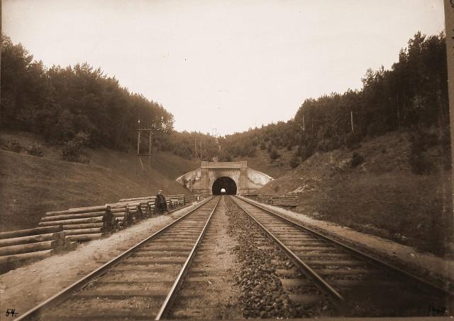 1450. Виленская губерния. Вильна. 658 верста. Вид на Понарский тоннель вблизи станции.