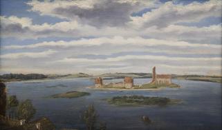 Pilies griuvėsiai Trakų ežere (1853). Vincentas Dmochovskis