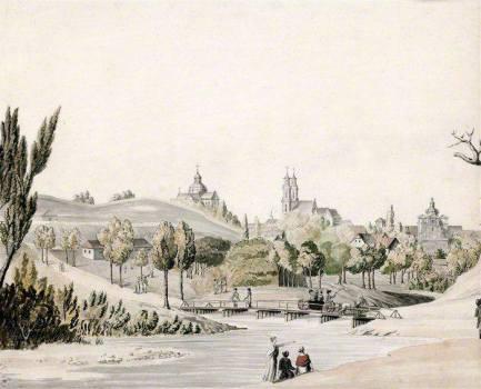 Juozapas Peška. Vilniaus vaizdas nuo Užupio į Misionierių vienuolyną. 1808 m.