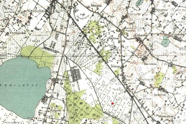 Stebėjimo punkto vieta 1930 m. žemėlapyje. Viršuje pažymėtas Zoknių aerodromas