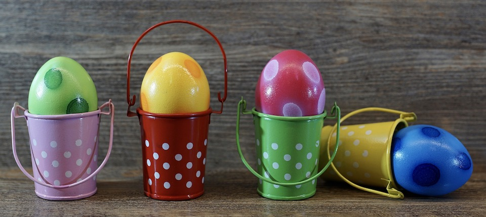 Buckets with eggs
