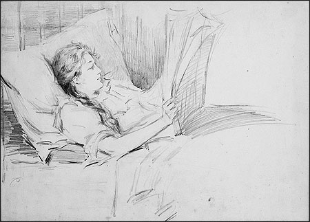 Young Woman in Bed Reading a Newspaper (circa 1890s), Louise Lyons Heustis (American, 1865-1951).