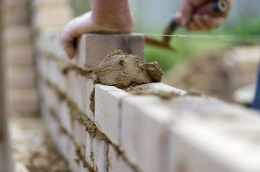 A newly laid brick wall
