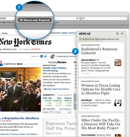 The News.me bookmarklet
