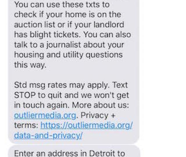 For Many Detroit Residents Replying To That Sort Of Out Of The Blue Text Might Be Worth A Shot When I First Texted The Service Of Outlier Media