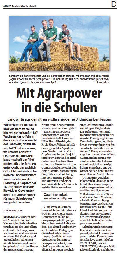 Mit Agrar Power in die Schulen Nierswalder Kuhhof