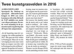 Kunstgrasvelden al in 2016