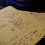 Schetsmatige planning van een user interface, copyright Mike Homme
