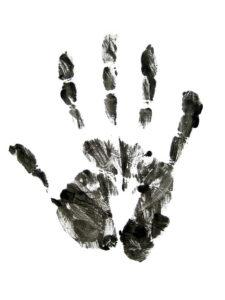 Handafdruk zwart op wit, copyright Jean Scheijen