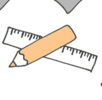 Detail uit schema werkwijze, potlood en liniaal gekruist getekend