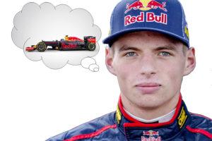 autocoureur denkt aan raceauto (raceauto in denkwolkje)