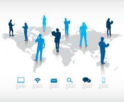 Infographic van een wereldkaart met bellende en berichten sturende silhouetten van mensen er op. Copyright foto: Christopherap