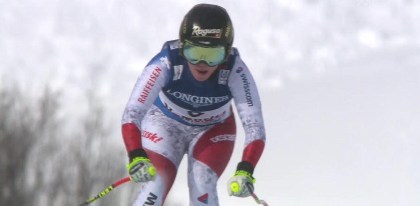 Lara Gut en el descenso de la combinada. Se ha lesionado de gravedad en el reconocimiento del slalom FOTO: Eurosport