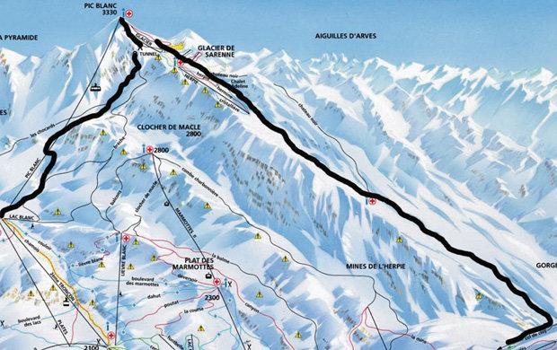 El descenso de la Sarenne, de 16 km, pone a prueba las piernas de cualquier esquiador consagrado