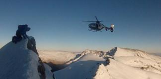El helicóptero de la Guardia Civil durante un rescate