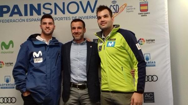 May Peus, Lucas Eguibar y Quim Salarich, en la presentación por parte de la RFEDI de la temporada 2017-18