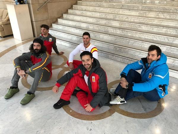 Lucas Eguibar, Regino Hernández, Laro Herrero, Quim Salarich y Felipe Montoya, en la sede del COE esta tarde FOTO: RFEDI