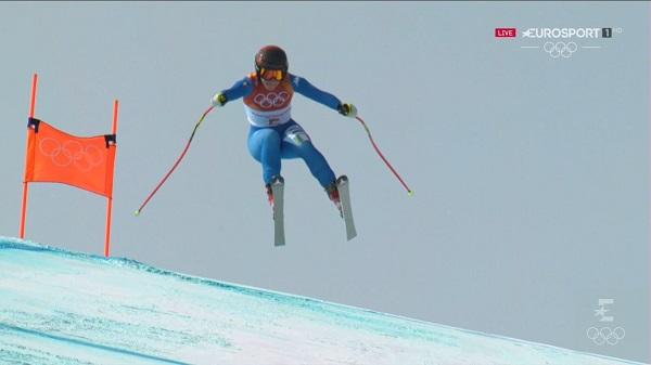 La recepción de este salto, el momento más complicado del descenso de Sofia Goggia