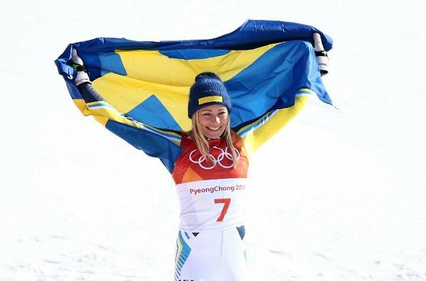 Frida Hansdotter, tras ganar el oro olímpico de slalom