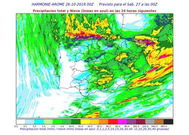 Líneas de precipitación para el sábado