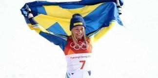 Frida Hansdotter, feliz tras proclamarse campeona olímpica de slalom en Pyeongchang 2018.