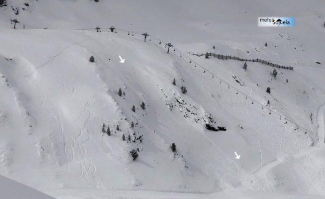 Lugar donde se ha producido el desprendimiento al paso del esquiador