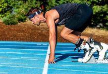 El nortemericano en la pista a punto de batir el récord