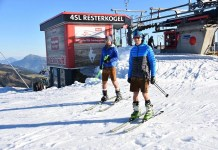 Esquiar en pantalón corto, el fin de semana pasado en Kitzbuehel gracias a la nieve almacenada. FOTO: @hansterbraak