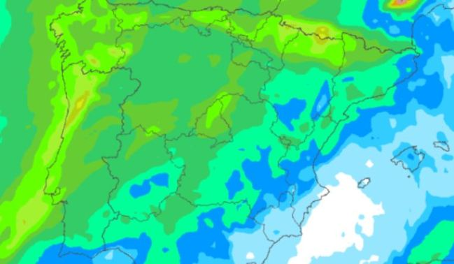 Mapa de precipitaciones la madrugada del martes FOTO: Meteociel.fr