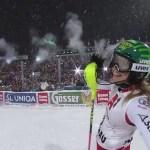 Katharina Liensberger, al término del slalom de Flachau donde obtuvo su único podio en la Copa del Mundo hasta el momento.
