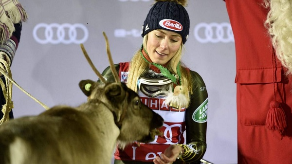 Cuarto reno para Mikaela Shiffrin tras ganar por cuarta vez el slalom de Levi. FOTO: Marca/AFP