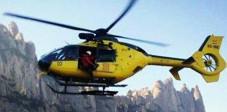 El helicóptero encontró el cuerpo del barranquista en el barranco de la Tartera