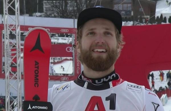 Marco Schwarz, único austriaco en subir al podio esta temporada en un slalom. Lo ha logrado dos veces.