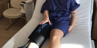 Tessa Worley, tras ser operada de la rodilla derecha.