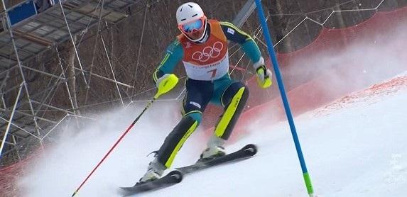Myhrer, en el slalom de Pyeonchang donde se proclamó campeón olímpico.