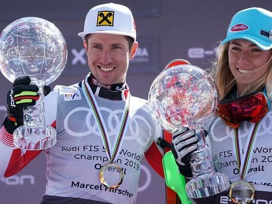 Marcel Hirscher y Mikaela Shiffrin, los últimos en recibir los Grandes Globos en la pista. Fue en Soldeu 2019. FOTO: ©OriolMolas