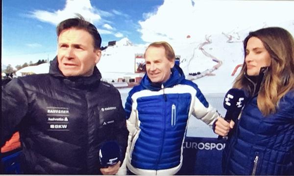 Urs Lehmann en su función de comentarista de Eurosport entrevistanto al doble campeón olímpico Markus Wasmeier.