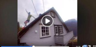 Para recordar la cima del Cervino (Italia), el alpinista subió al tejado de su casa