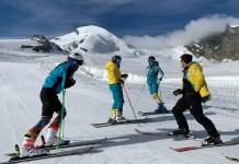 Integrantes del equipo de alpino de la RFEDI en una sesión de entrenamiento en Saas Fee. FOTO: ©RFEDI-Spainsnow